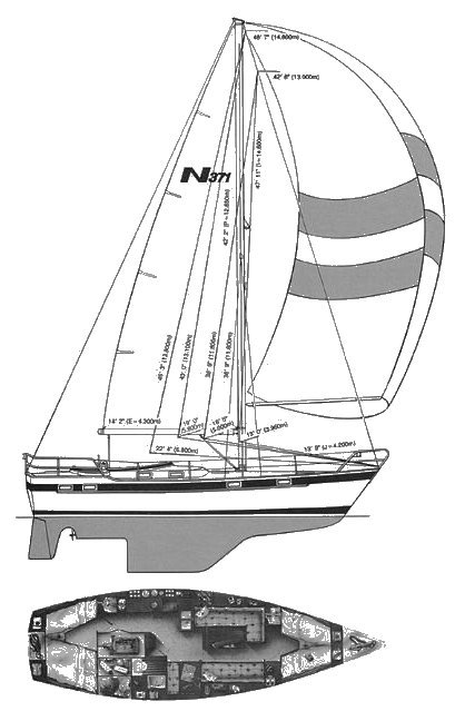 Najad 371 drawing on sailboatdata.com
