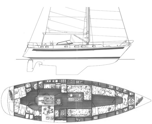 Najad 420 drawing on sailboatdata.com