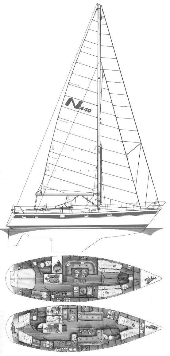 Najad 440-1 drawing on sailboatdata.com