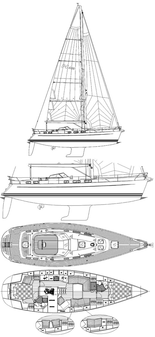 Najad 440-2 CC drawing on sailboatdata.com