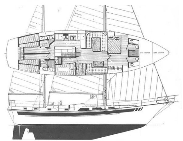 Nautical 60 drawing on sailboatdata.com