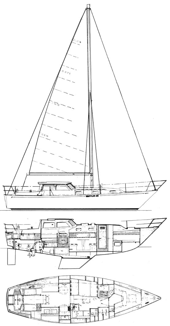 Nautilus 36 drawing on sailboatdata.com
