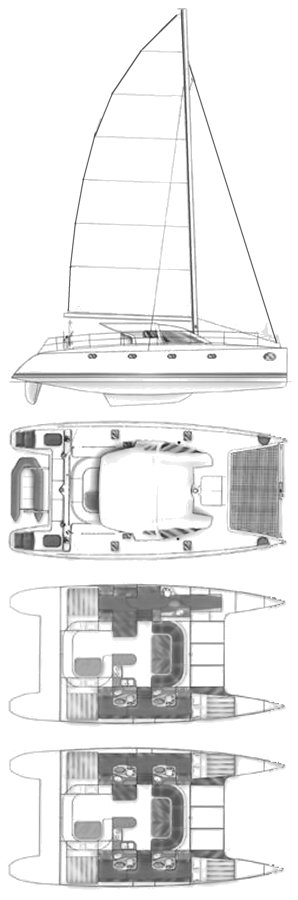 Nautitech 435 (Dufour) drawing on sailboatdata.com