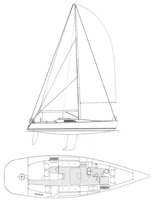 Nelson Marek 43 drawing on sailboatdata.com
