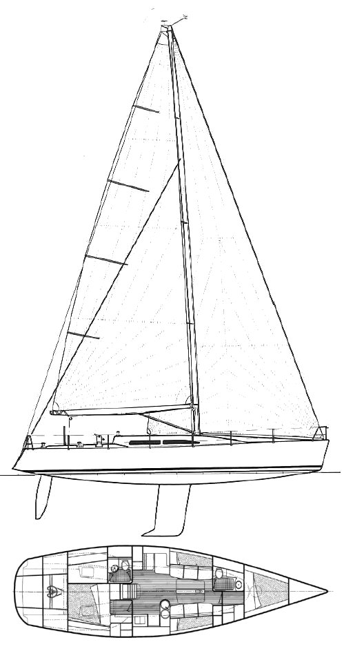 Nelson Marek 46 drawing on sailboatdata.com