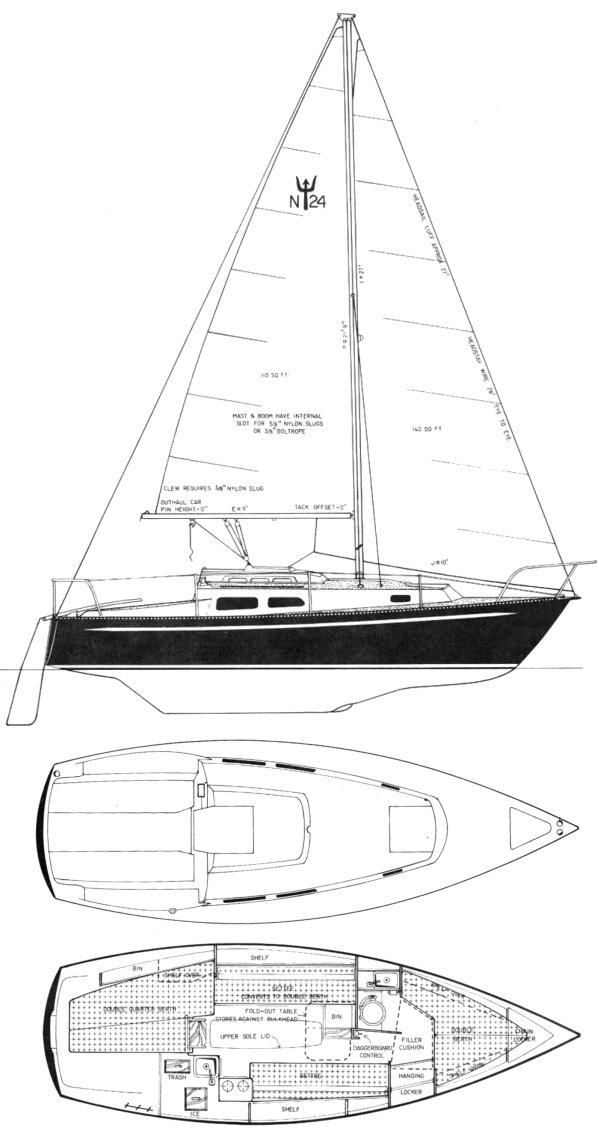 Neptune 24 CB drawing on sailboatdata.com