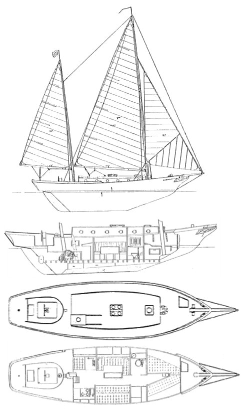 Nereia 36 (Herreshoff) drawing on sailboatdata.com