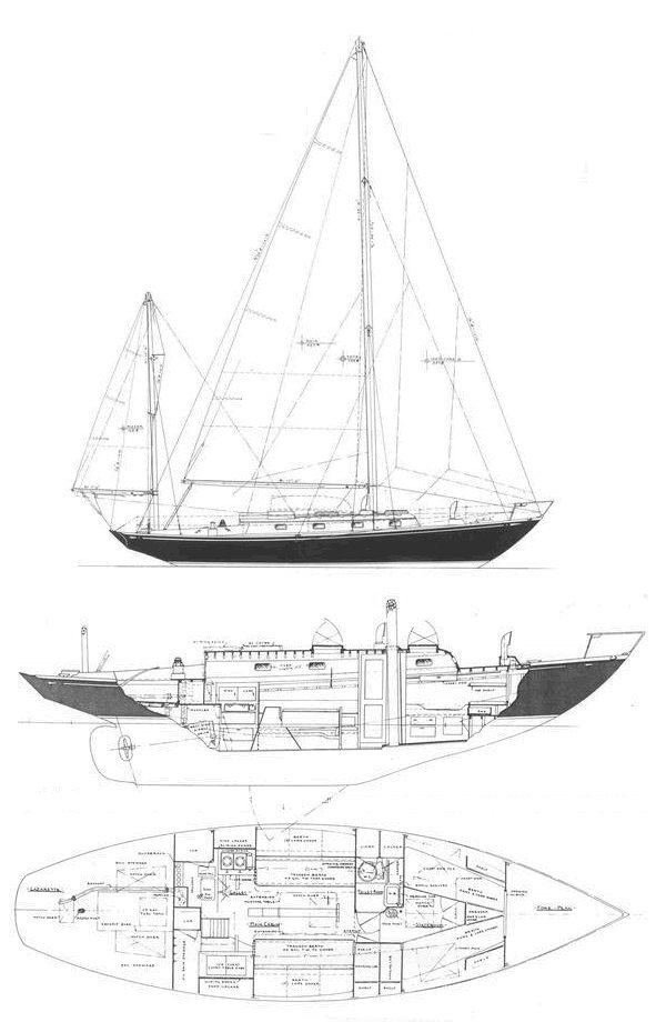 Nevins 40 drawing on sailboatdata.com