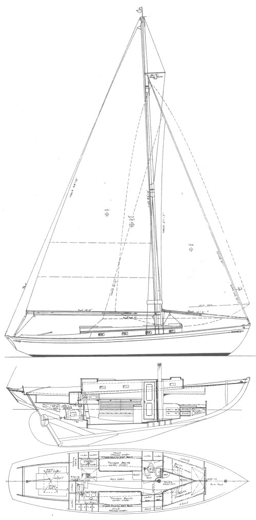 New Bedford 35 drawing on sailboatdata.com