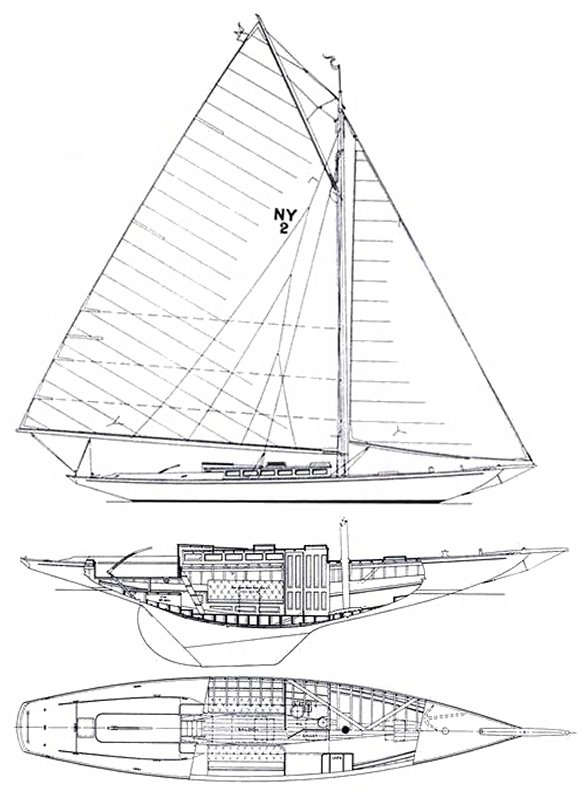 New York Yacht Club 30 drawing on sailboatdata.com