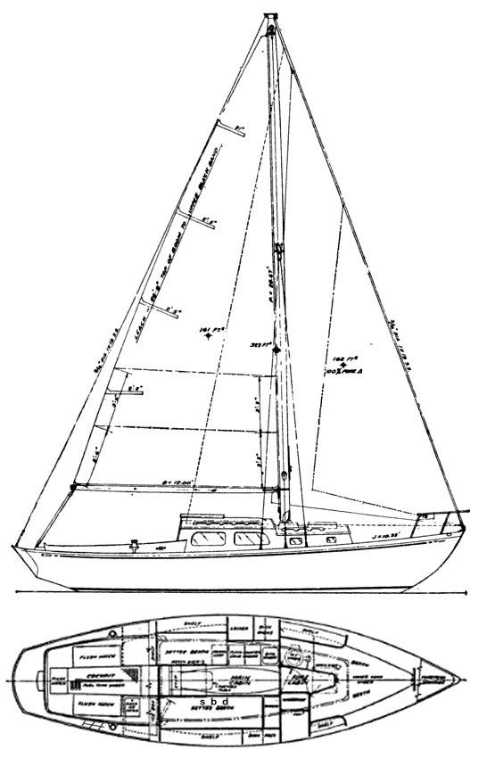Newell Cadet drawing on sailboatdata.com