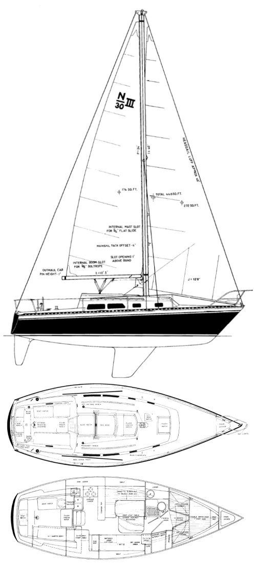 Newport 30-3 drawing on sailboatdata.com