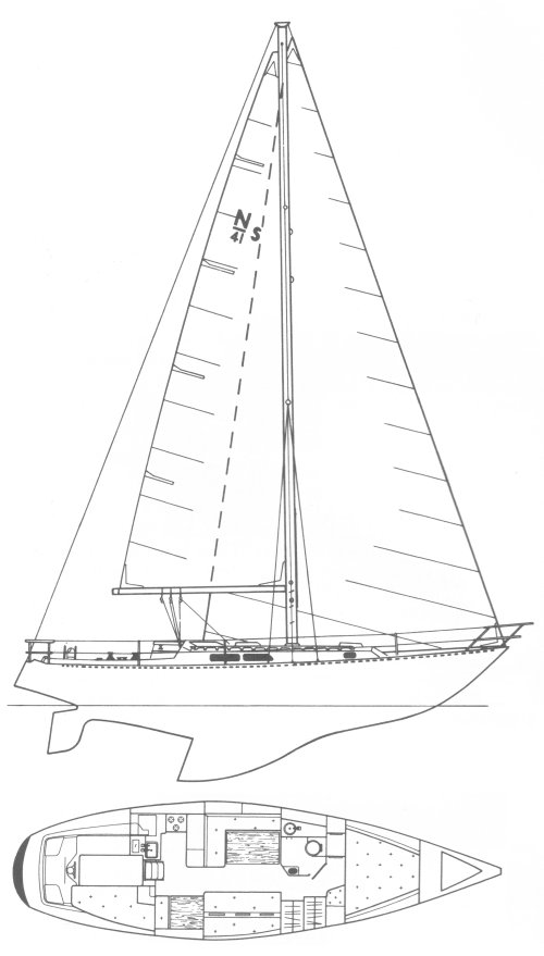 Newport 41S drawing on sailboatdata.com