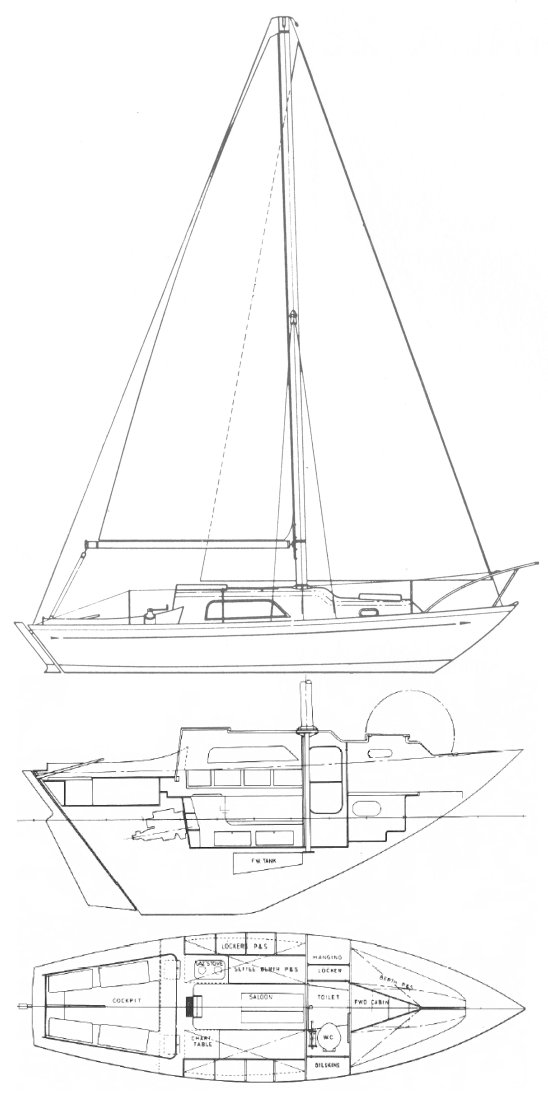 Nicholson 26 drawing on sailboatdata.com