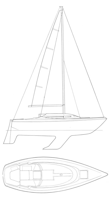Nicholson 30 drawing on sailboatdata.com