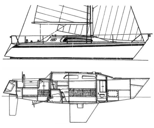 nicholson 345 drawing on sailboatdata.com