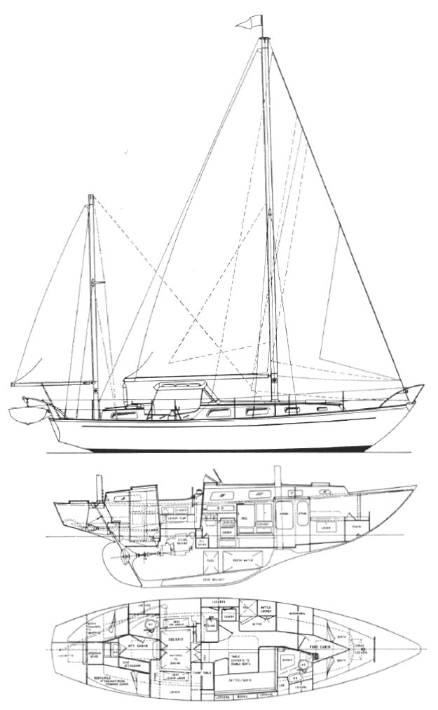 Nicholson 38 drawing on sailboatdata.com
