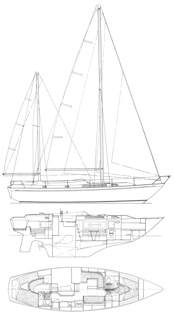 Nicholson 39 drawing on sailboatdata.com