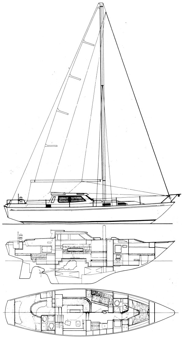 Nicholson 40 DS drawing on sailboatdata.com