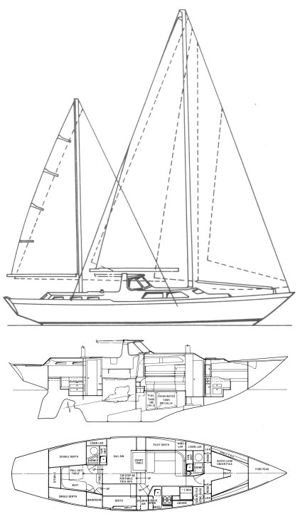 Nicholson 48 drawing on sailboatdata.com