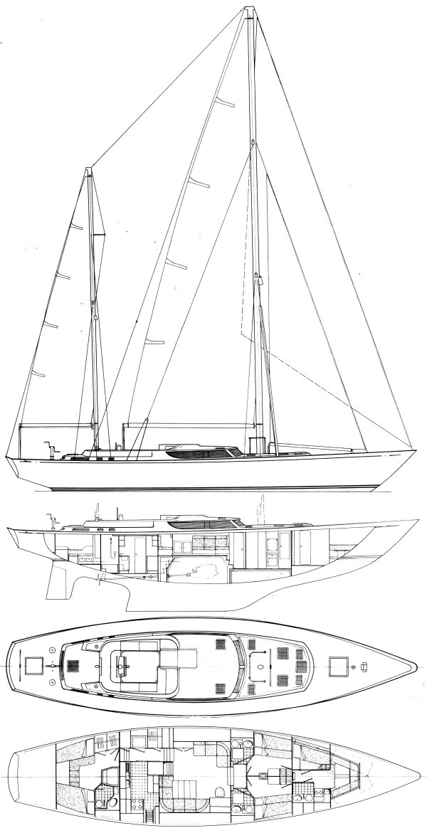 Nicholson 70 drawing on sailboatdata.com