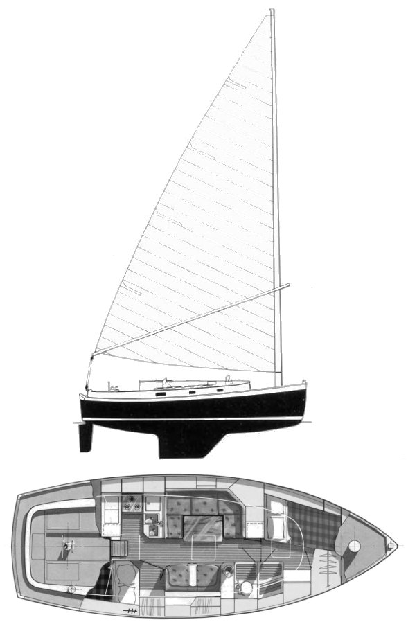 Nonsuch 33 drawing on sailboatdata.com