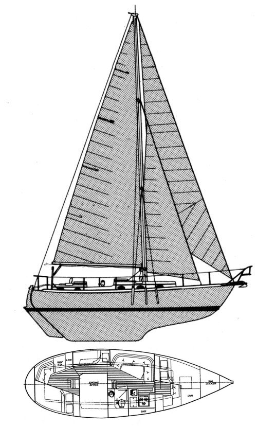 Nor'sea 37 drawing on sailboatdata.com