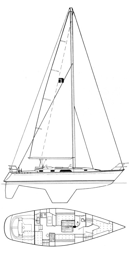 Nordic 40 (Perry) drawing on sailboatdata.com