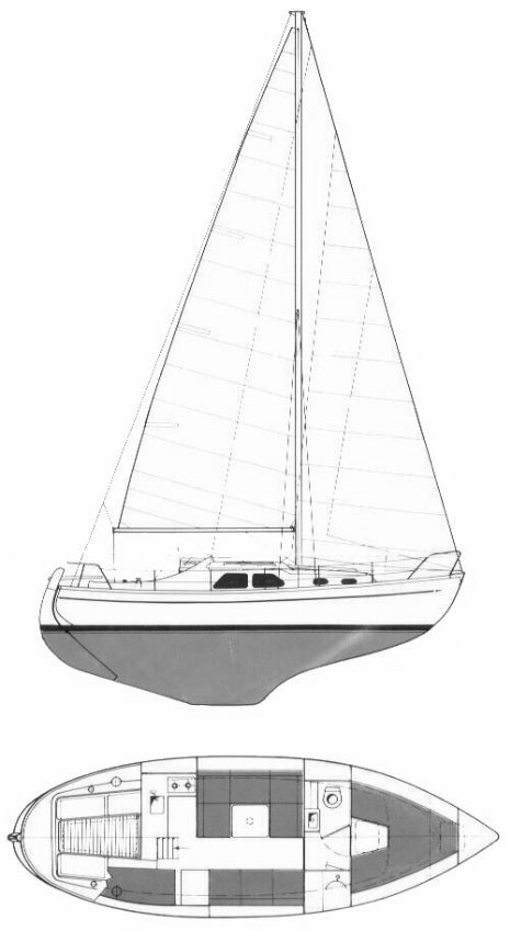 Nordica 30 drawing on sailboatdata.com