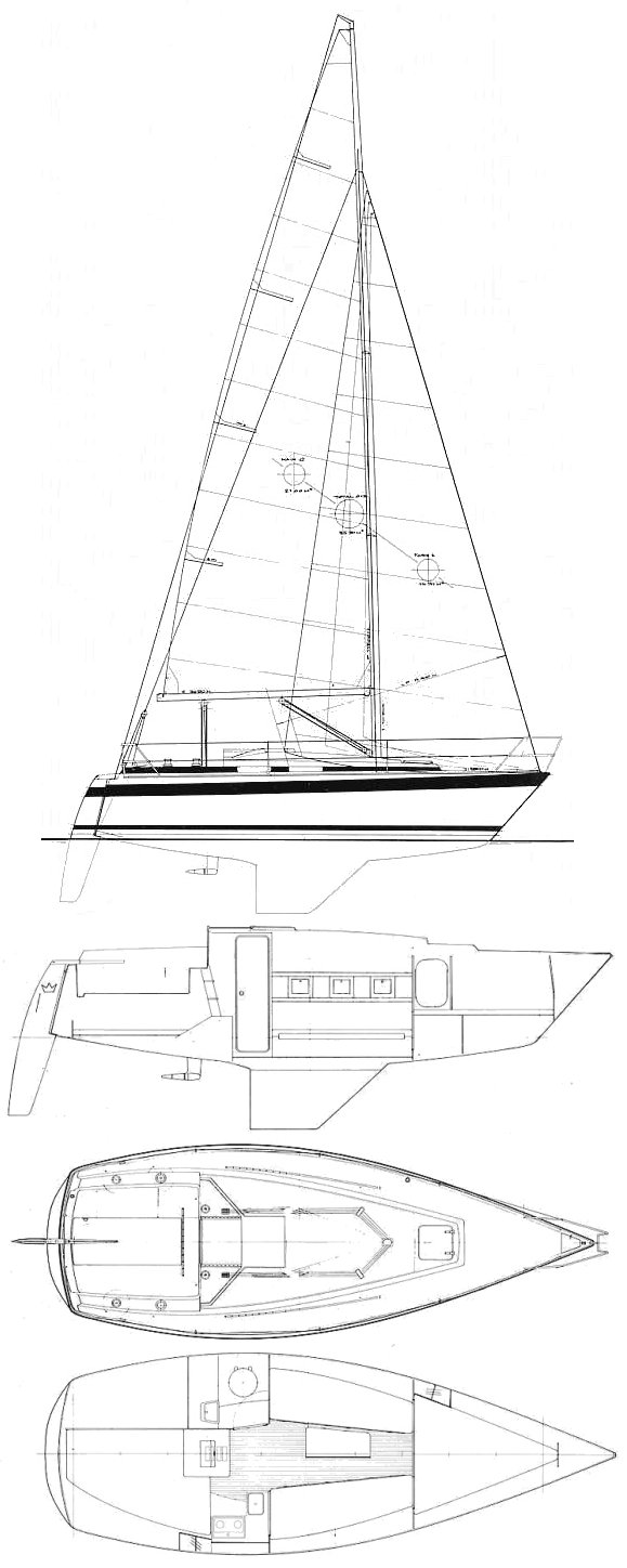 Nordship 808 drawing on sailboatdata.com