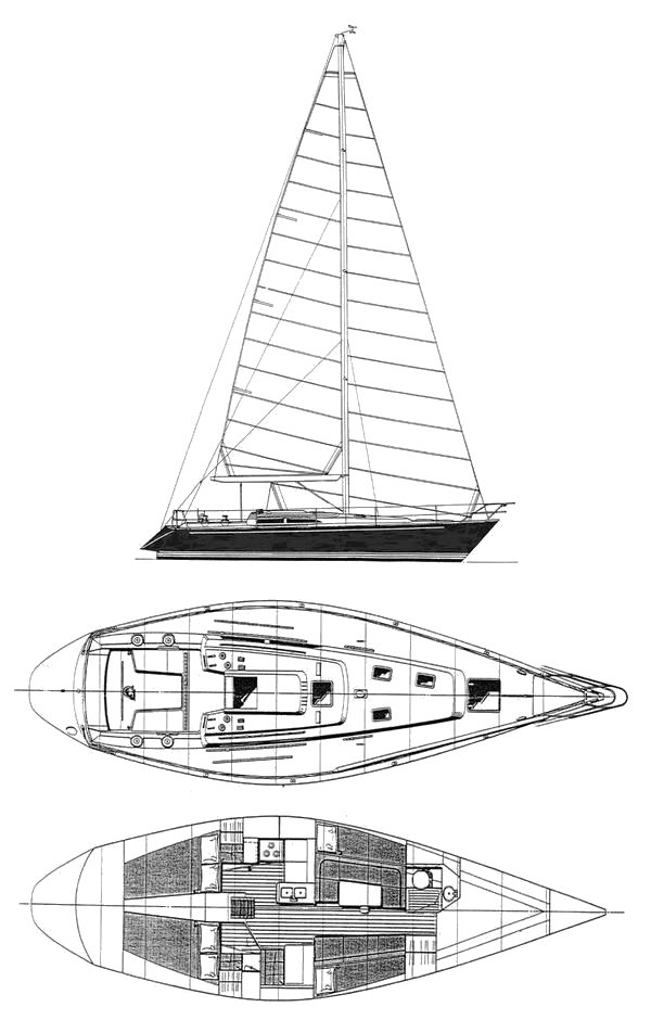 Northeast 39 drawing on sailboatdata.com