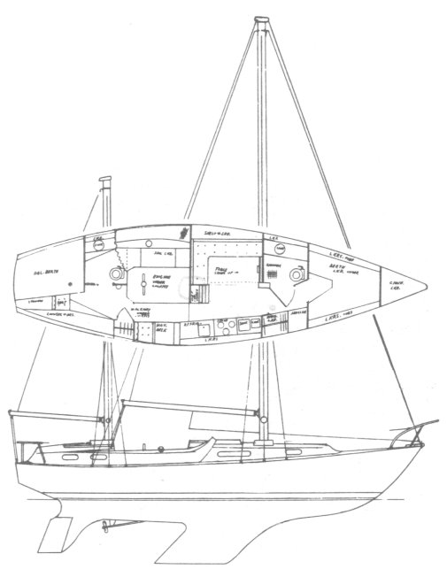 Northern 37K drawing on sailboatdata.com