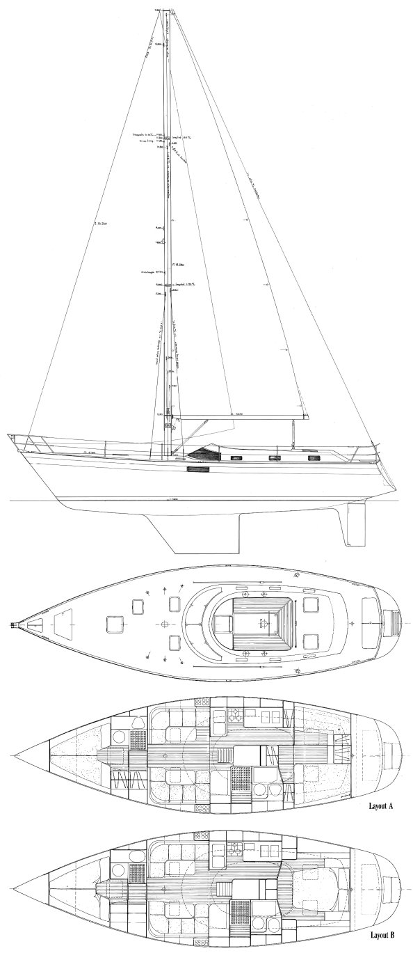 Northwind 435 drawing on sailboatdata.com