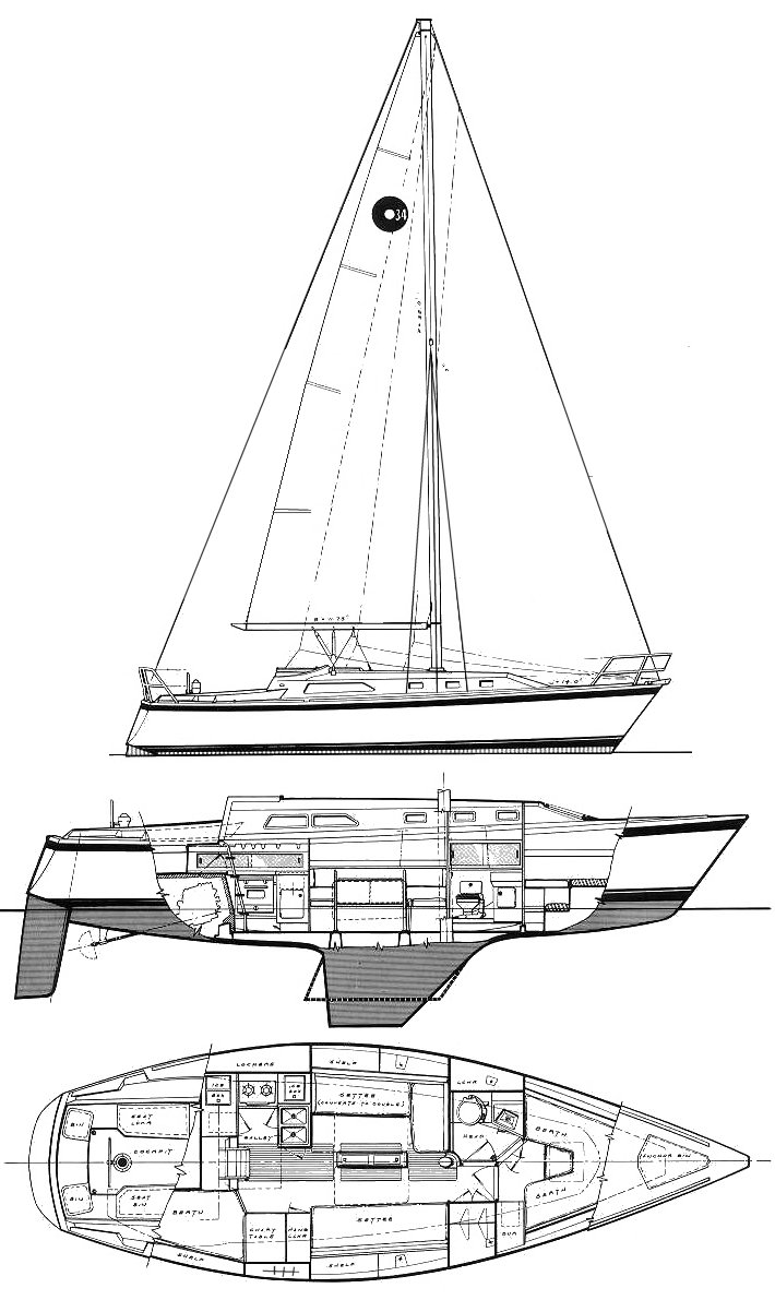 O'Day 34 drawing on sailboatdata.com