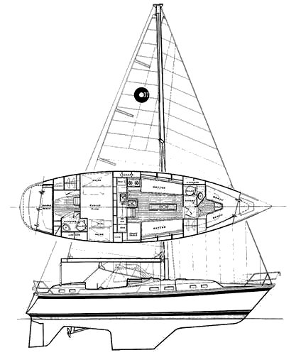 O'Day 37 drawing on sailboatdata.com