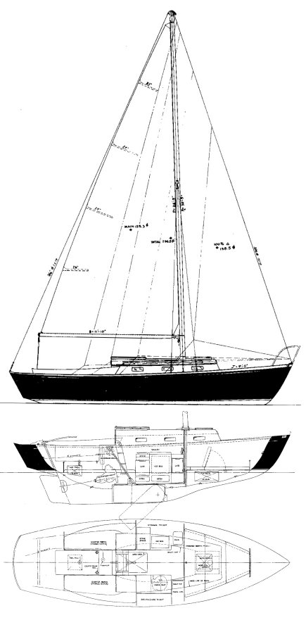 Dolphin 24 (O'Day) drawing on sailboatdata.com