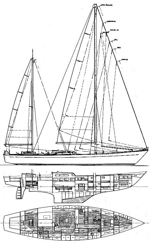 Ocean 71 drawing on sailboatdata.com
