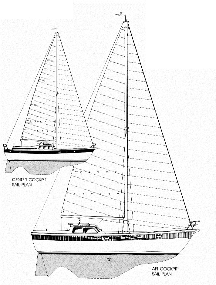 Oceanic 38 drawing on sailboatdata.com