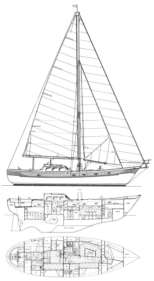 Pan Oceanic 46 drawing on sailboatdata.com