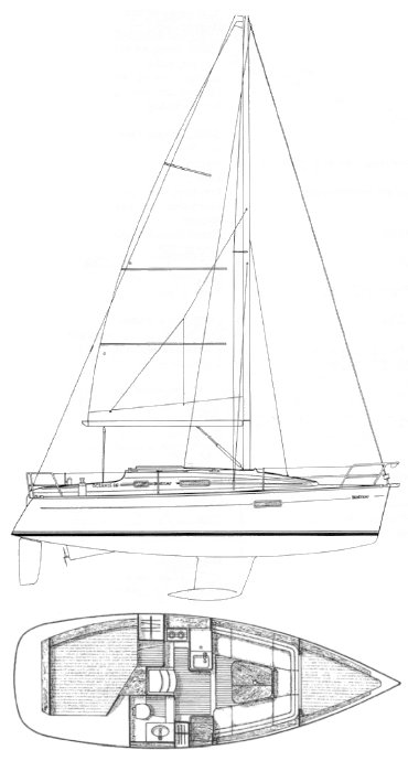 Oceanis 281 (Beneteau) drawing on sailboatdata.com