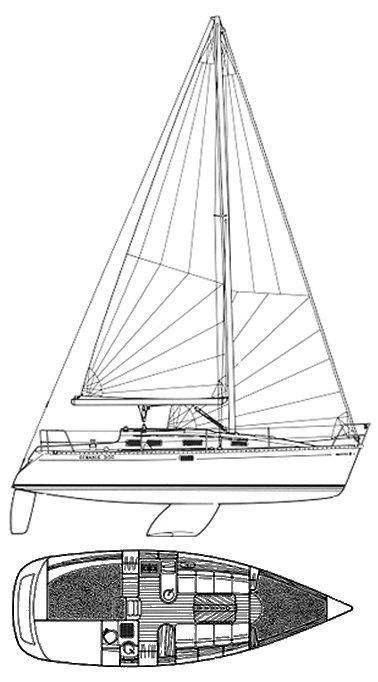 Oceanis 300 drawing on sailboatdata.com