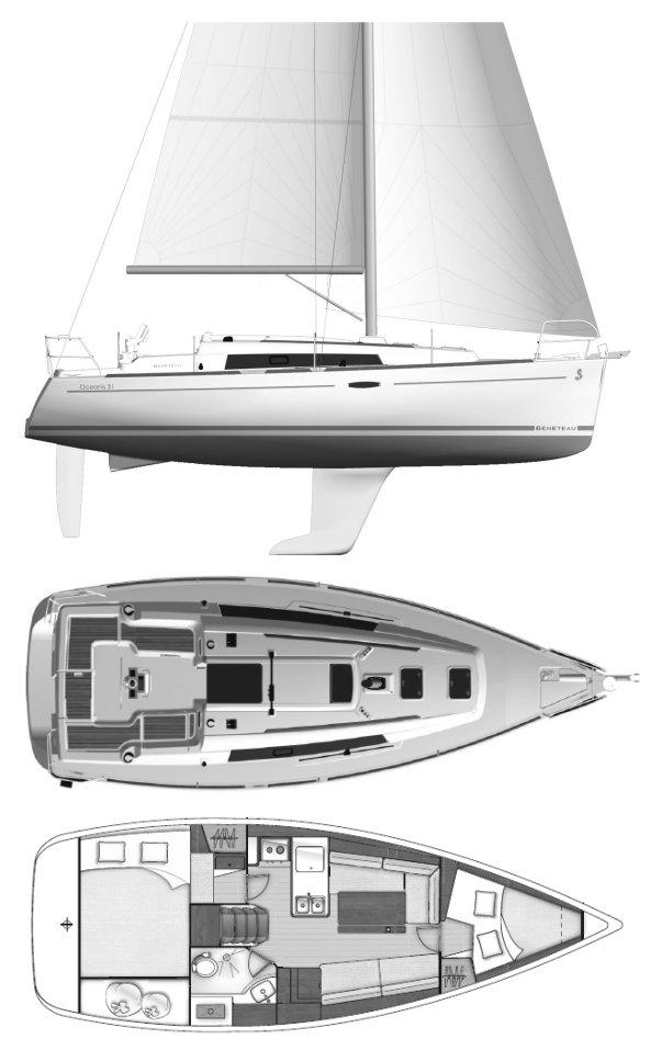 OCEANIS 31 (BENETEAU) drawing