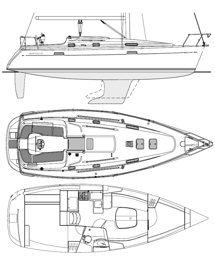 Oceanis 331 drawing on sailboatdata.com