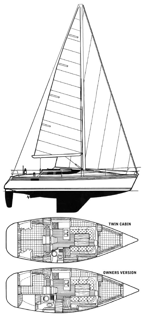 Oceanis 350 (Beneteau) drawing on sailboatdata.com