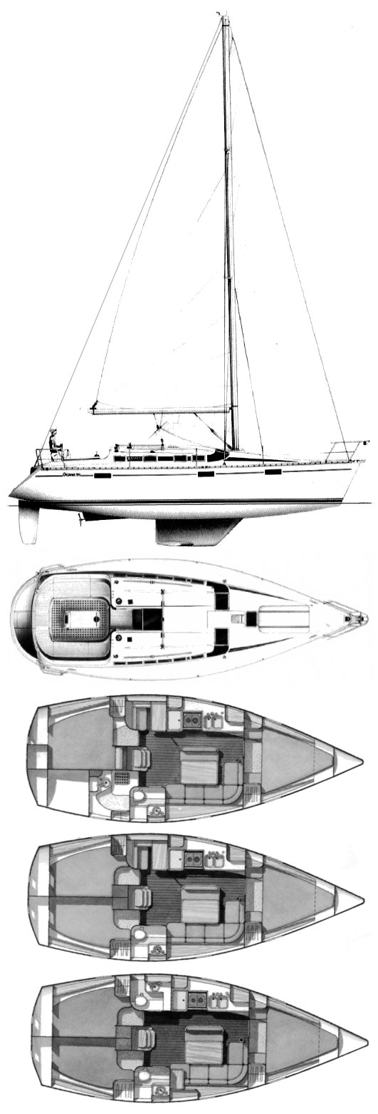 Oceanis 370 (Beneteau) drawing on sailboatdata.com