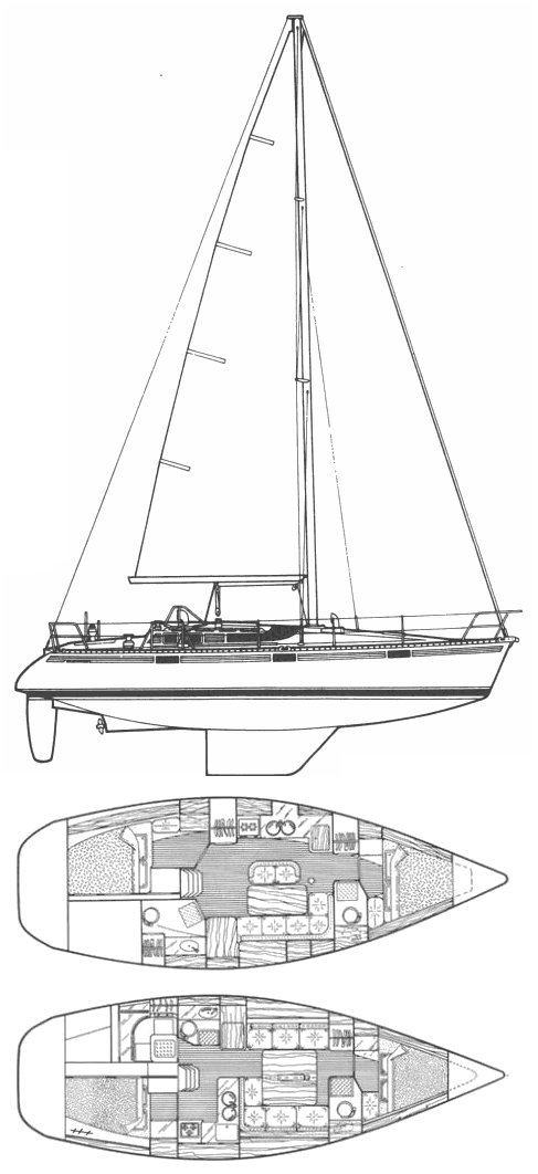 Oceanis 390 (Beneteau) drawing on sailboatdata.com