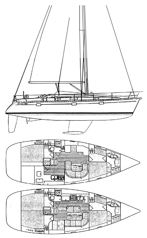 Oceanis 400 drawing on sailboatdata.com
