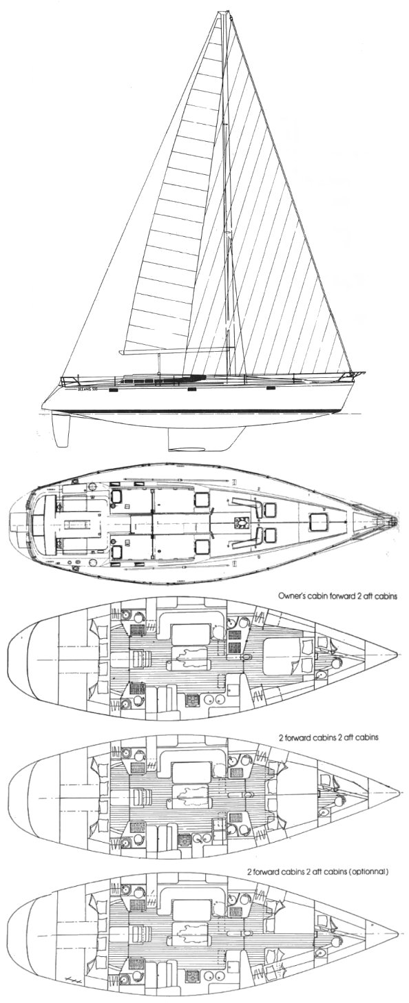 Oceanis 500 (Beneteau) drawing on sailboatdata.com