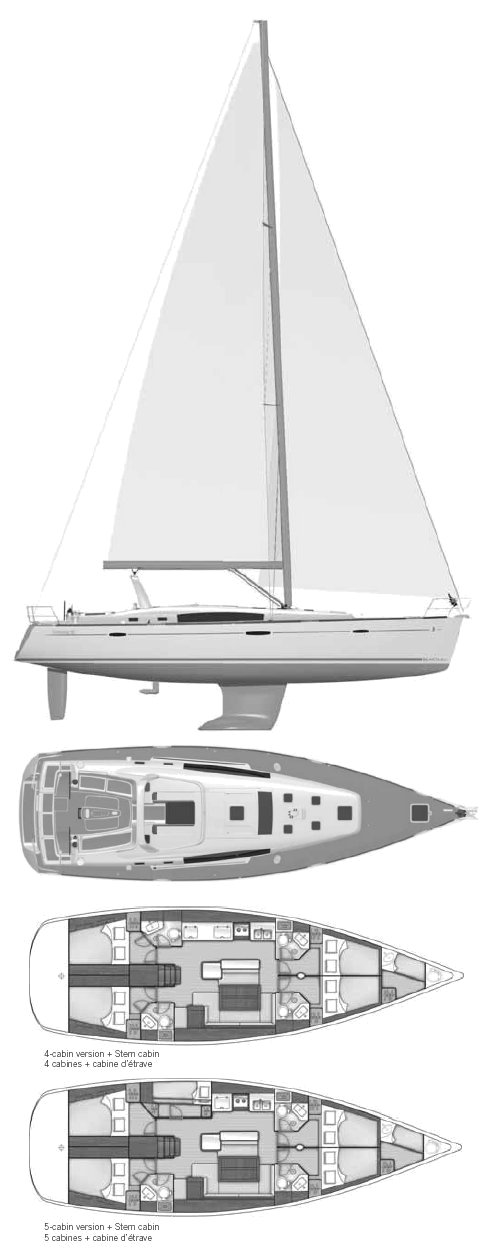 Oceanis 50 (Beneteau) drawing on sailboatdata.com
