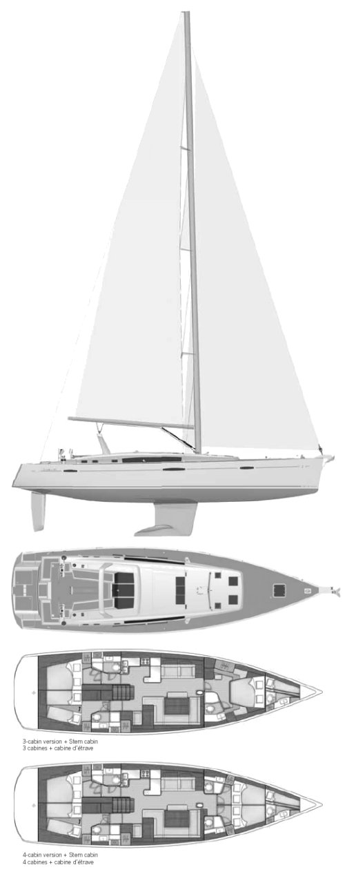 Oceanis 58 (Beneteau) drawing on sailboatdata.com